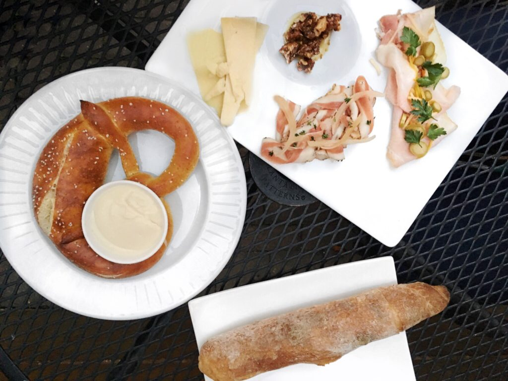 Pretzel with Cauliflower Fondue and Charcuterie Board at Table, Donkey, and Stick // Photo: @topchicagoeats