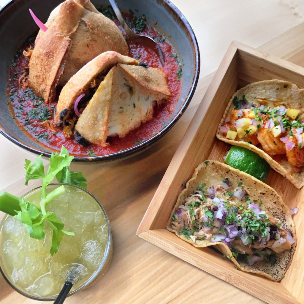Fab Review: Lunch at Quiote // Torta Ahogada, Taco de Camarones, Taco de Pollo, and Celery Shrub Cocktail // Photo: @topchicagoeats