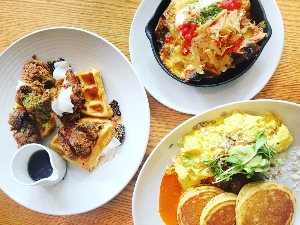 Fab Review: Brunch at Gather // Chicken & waffles, Skillet, and Johnny Cakes // Photo: @topchicagoeats