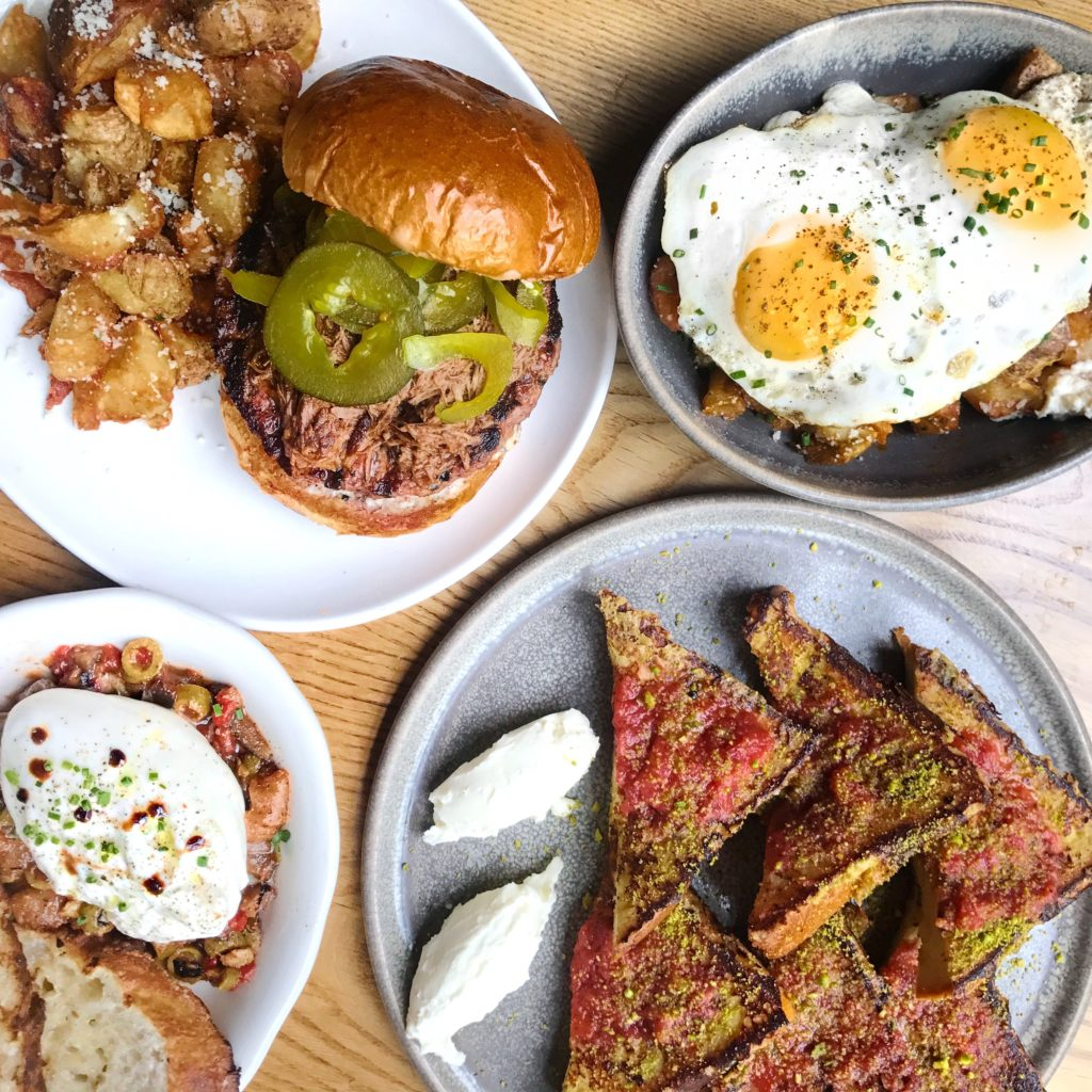 Fab Review: Brunch at Bar Lupo // Piedmont Pub Burger, Lupo Potatoes Bolognese, Fresh Burrata, and Brioche French Toast // Photo: @topchicagoeats