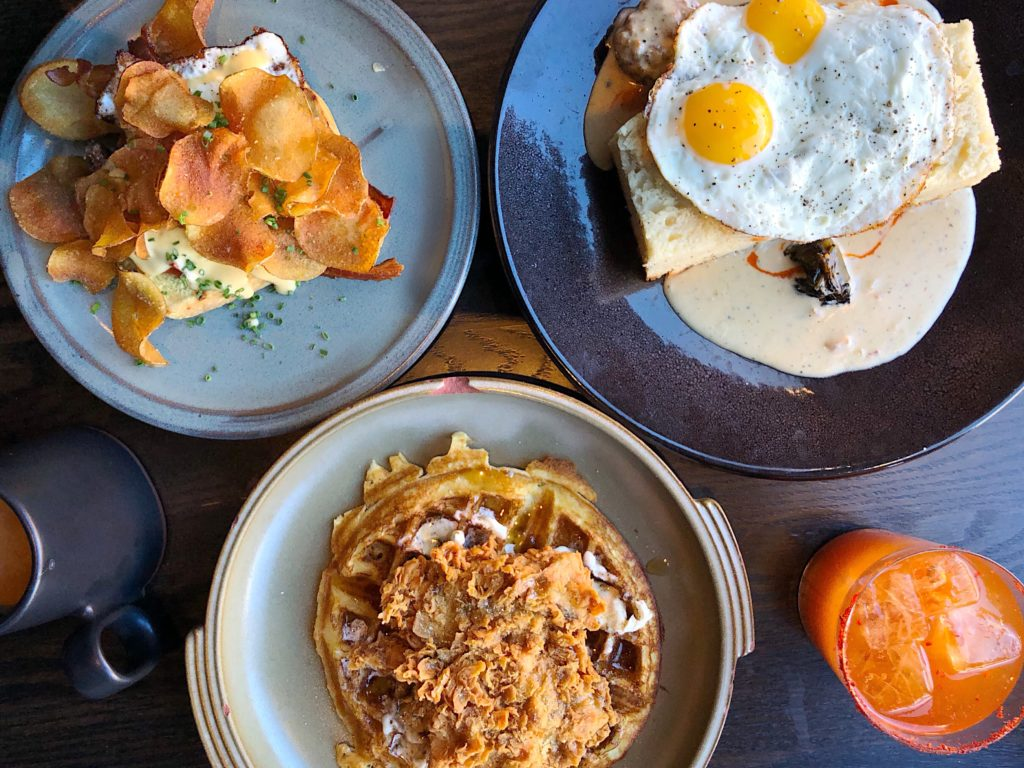 Fab Review: Brunch at Roister // Open-Faced Egg Sandwich, Biscuits & Gravy, and Chicken & Waffles // Photo: @topchicagoeats